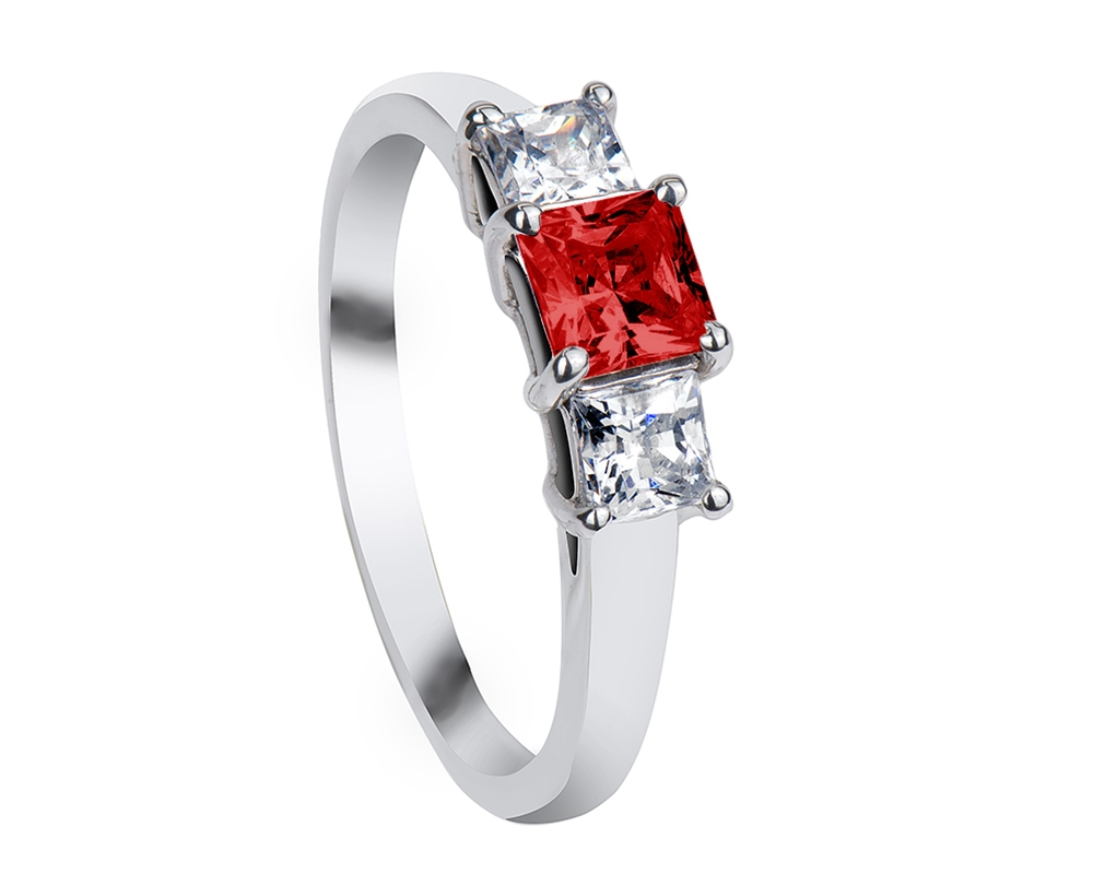 Red Diamond Wedding Ring Stunning Micro CZ Rose Gold Plated